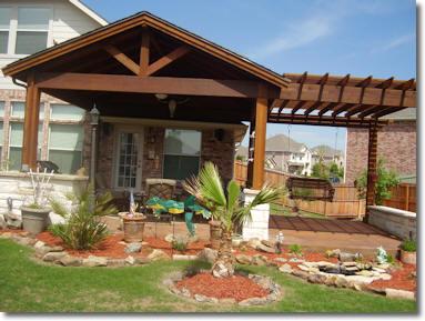Custom cedar patio covers in midlothian carports for Backyard patio extension ideas